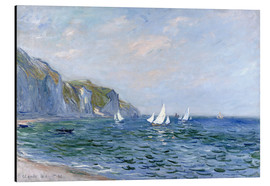 Aluminiumtavla  Rocks and sailing boats in Pourville - Claude Monet