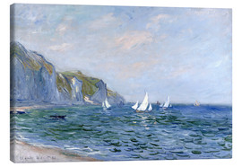 Canvastavla  Rocks and sailing boats in Pourville - Claude Monet