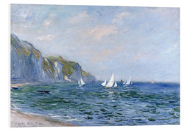 PVC-tavla  Rocks and sailing boats in Pourville - Claude Monet
