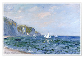 Premiumposter  Rocks and sailing boats in Pourville - Claude Monet