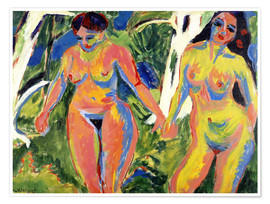 Premiumposter  Two naked women in the forest - Ernst Ludwig Kirchner