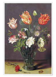 Premiumposter Tulips with other Flowers in a Glass on a Table