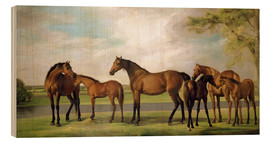 Trätavla  Mares, foals and an approaching storm - George Stubbs