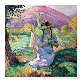Poster Young Girl picking Flowers, 1910