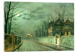 Akrylglastavla  Old English House, Moonlight after Rain - John Atkinson Grimshaw