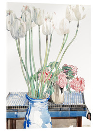 Akrylglastavla  White tulips - Charles Rennie Mackintosh