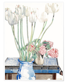 Premiumposter  White tulips - Charles Rennie Mackintosh