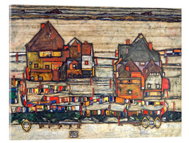 Akrylglastavla  Houses with colorful laundry - Egon Schiele