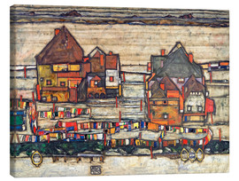 Canvastavla  Houses with Laundry (Seeburg) - Egon Schiele