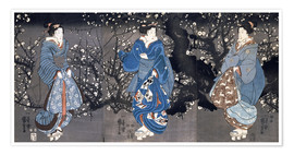 Premiumposter An oban triptych depicting a Nocturnal Scene with three Bijin