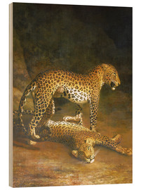 Trätavla  Two Leopards lying in the Exeter Exchange - Jacques Laurent Agasse
