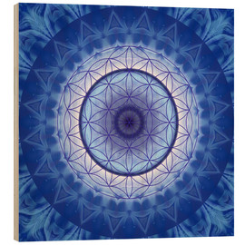 Trätavla  Flower of life blue - Christine Bässler