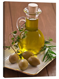 Canvastavla  Olive oil and olives - Edith Albuschat