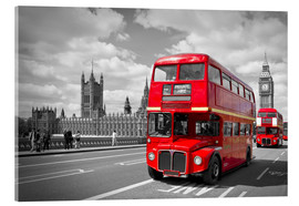 Akrylglastavla  Westminster Bridge and Red Buses - Melanie Viola