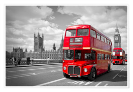 Poster  Westminster Bridge and Red Buses - Melanie Viola