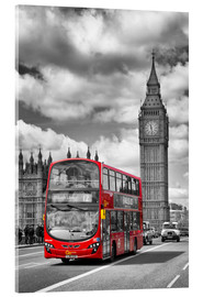 Akrylglastavla  Big Ben and Red Bus - Melanie Viola