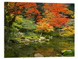 PVC-tavla  Japanese garden in autumn with red maple tree - Jan Christopher Becke