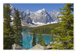 Premiumposter  Lake Moraine and Canadian Rockies - Paul Thompson