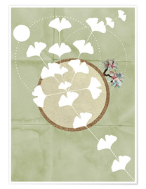Premiumposter GINGKO TREE BY 5 CLOCK EARLY
