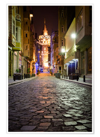 Premiumposter  The famous Galata-Tower at night (Istanbul/Turkey) - gn fotografie