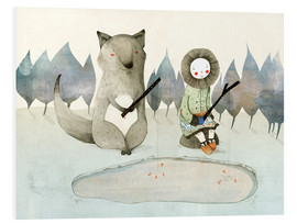 PVC-tavla  The little Inuit girl and the wolf - Judith Loske