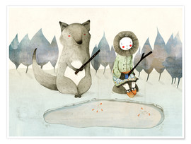 Premiumposter  The little Inuit girl and the wolf - Judith Loske