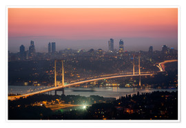 Premiumposter Bosporus-Bridge at Night (Istanbul / Turkey)