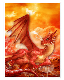 Premiumposter  Red Power Dragon - Dolphins DreamDesign