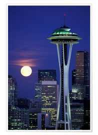 Premiumposter Space Needle at full moon