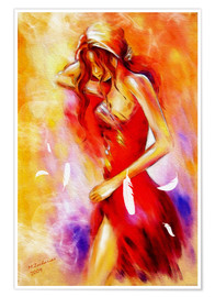 Premiumposter Woman in red dress