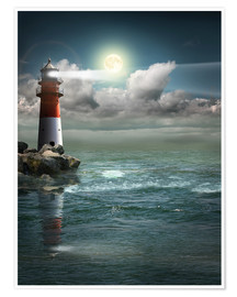 Premiumposter Lighthouse by moonlight