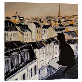 Akrylglastavla  Black cat on a roof in Paris - JIEL