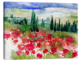 Canvastavla  Tuscan Poppies - Jitka Krause