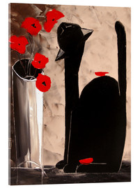 Akrylglastavla  BLACK CAT WITH POPPIES - JIEL