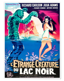 Premiumposter CREATURE FROM THE BLACK LAGOON, on left: the Creature, played by Ben Chapman and Ricou Browning, on