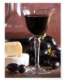 Premiumposter Cheese platter with wine