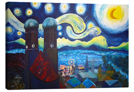 Canvastavla  Starry Night over Munich inspired by Vincent Van Gogh - M. Bleichner