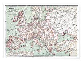 Premiumposter Map of Europe from 1812 (English)