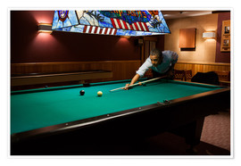 Premiumposter  President Barack Obama plays a game of pool