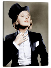 Canvastavla  Marlene Dietrich with a suit and cylinder