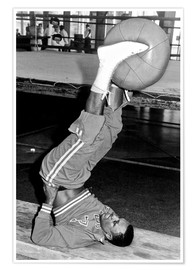 Poster  Joe Frazier during training with a medicine ball