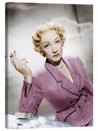 Canvastavla  Marlene Dietrich, wearing a suit by Christian Dior