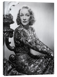 Canvastavla  Marlene Dietrich in a sequined dress