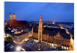 Akrylglastavla  Church of our Lady and the new town hall in Munich at night - Buellom