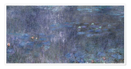 Premiumposter Water Lilies, Reflection of trees 2