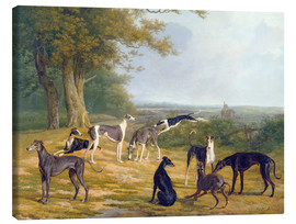 Canvastavla  Nine Greyhounds in a Landscape - Jacques Laurent Agasse