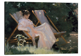 Aluminiumtavla  Roses. Marie Krøyer seated in the deckchair in the garden by Mrs Bendsen's house, detail - Peder Severin Krøyer