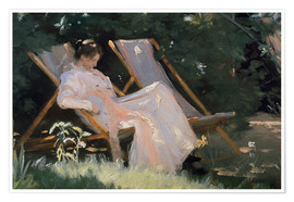 Premiumposter Roses. Marie Krøyer seated in the deckchair in the garden by Mrs Bendsen's house, detail