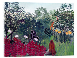 Akrylglastavla  Tropical Forest with Monkeys - Henri Rousseau