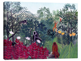 Canvastavla  Tropical Forest with Monkeys - Henri Rousseau